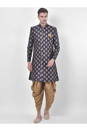 DEYANN Men Navy Blue & Gold-Colored Printed Sherwani