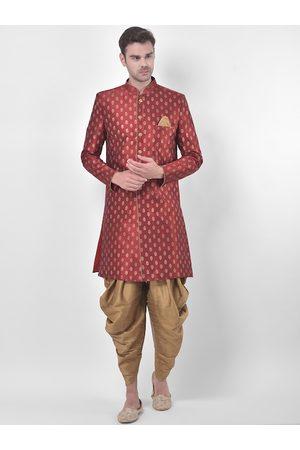 DEYANN Men Red & Gold-Coloured Printed Sherwani Patiala Set