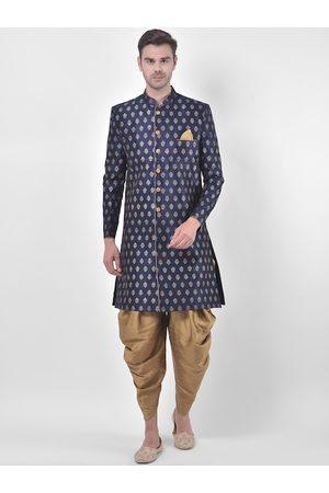 DEYANN Men Navy Blue & Gold-Coloured Printed Sherwani