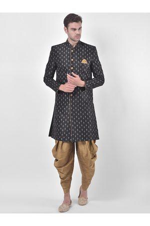 DEYANN Men Black & Gold-Coloured Printed Sherwani Patiala Set