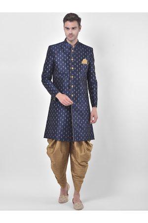 DEYANN Men Navy Blue & Gold-Coloured Printed Sherwani Patiala Set
