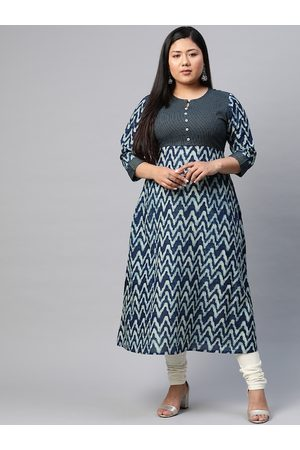 Yash Gallery Women Plus Size Navy & Off-White Printed A-Line Kurta