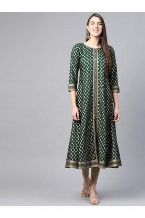 Yash Gallery Women Green & Golden Printed Anarkali Kurta