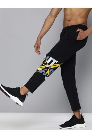 HRX Men Black Printed Straight Fit Lifestyle Track Pants