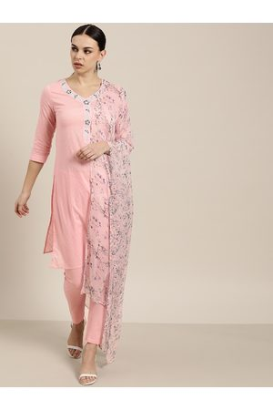 all about you Women Pink Woven Design Cotton Kurta with Trousers & Dupatta