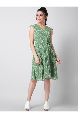FabAlley Women Green Printed Fit and Flare Dress