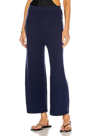 ROSETTA GETTY Paneled Cashmere Culotte Pant in Navy