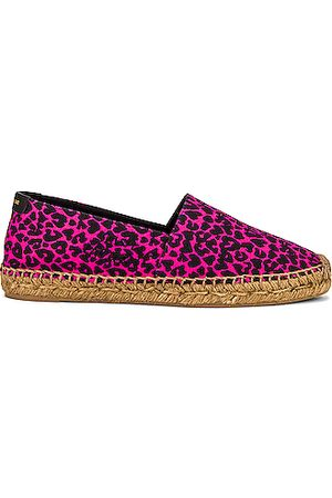 Saint Laurent Signature Espadrilles in Fuchsia & Noir