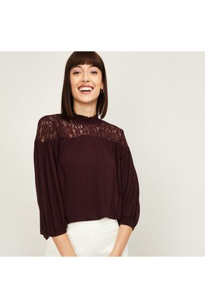 Code Women Lace Detail Three-Quarter Sleeves Top