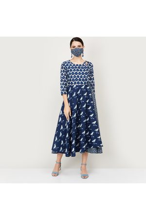 Biba Women Printed A-Line Ethnic Dress with Mask