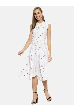 Campus Women White Polka Dots Printed Fit and Flare Dress