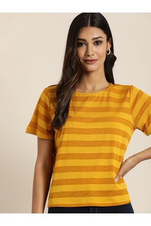 all about you Women Mustard Yellow & Orange Striped Round Neck T-shirt