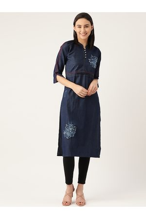 Kvsfab Women Navy Blue Indigo Denim Kurta