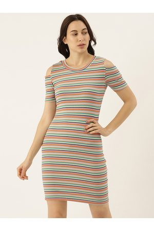 Campus Women Lavender & Orange Striped Cold-Shoulder Cotton Sheath Dress
