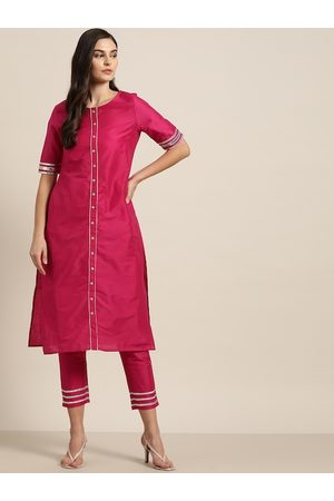 all about you Women Fuchsia Pink & Silver Solid Kurta with Trousers