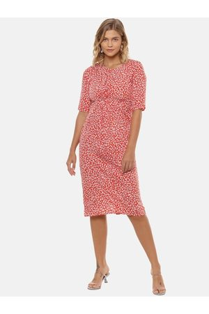 Campus Women Red Printed A-Line Dress