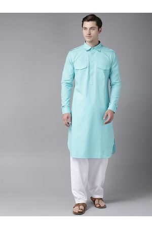 See Designs Men Blue & White Pure Cotton Solid Pathani Kurta with Salwar