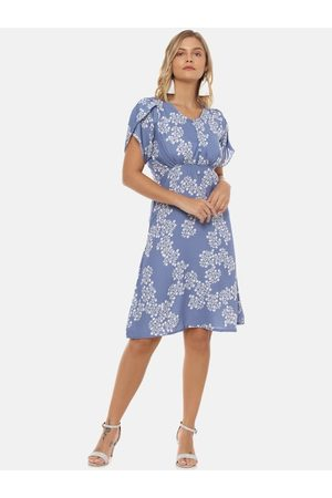 Campus Women Blue Printed Fit and Flare Dress