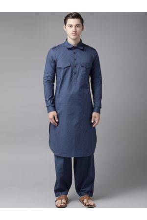 See Designs Men Navy Blue Pure Cotton Solid Pathani Kurta with Salwar