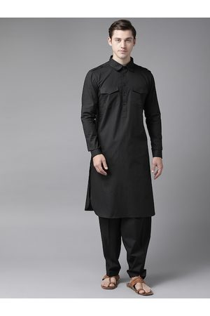 See Designs Men Black Solid Pure Cotton Solid Pathani Kurta with Salwar