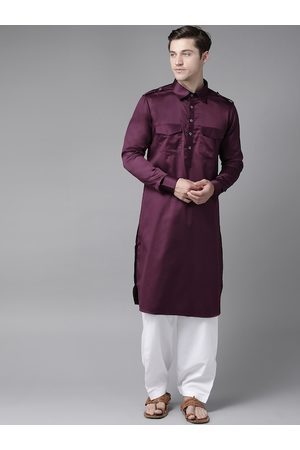See Designs Men Aubergine & White Pure Cotton Solid Pathani Kurta with Salwar