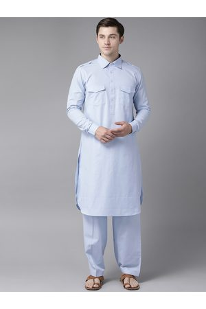 See Designs Men Blue Pure Cotton Solid Pathani Kurta with Salwar