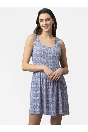 Style Quotient Women Blue Printed Fit and Flare Dress