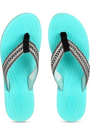 Benetton Women Turquoise Blue Embellished Thong Flip-Flops