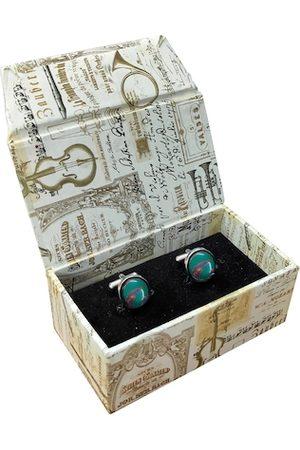 Blacksmith Green & Brown Round Cufflinks