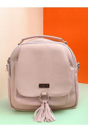 STREET 9 Women Peach-coloured Tasselled Backpack