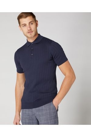 Remus Men Polo Shirts - Navy Textured Knitted Polo Shirt