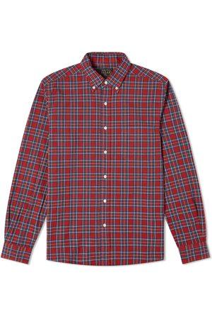 Beams Men Shirts - Button Down Indigo Yarn Tartan Shirt