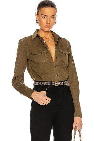 Saint Laurent Women Tops - Denim Shirt in Khaki Stone Wash