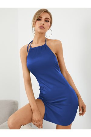 YOINS Sexy Halter Backless design Satin Sleeveless Mini Dress