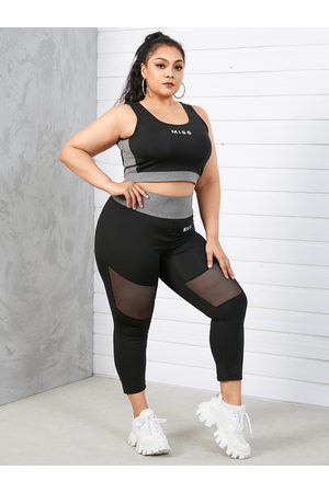 YOINS BASICS Plus Size Patchwork Letter Sleeveless Two Piece Outfit