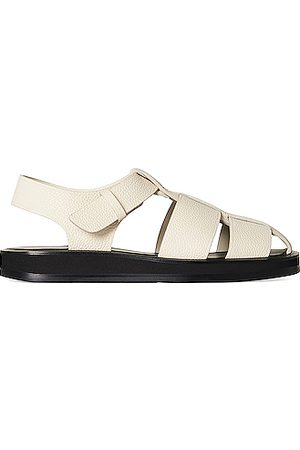 The Row Fisherman Leather Sandals in Ivory
