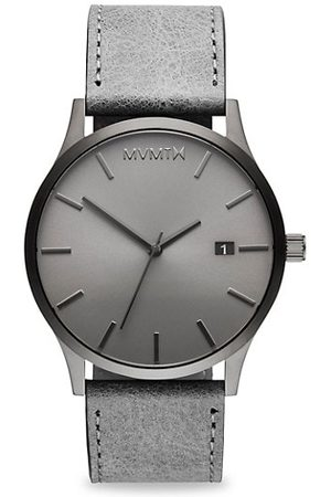 MVMT Men Watches - Classic Monochrome Grey Stainless Steel & Leather-Strap Watch