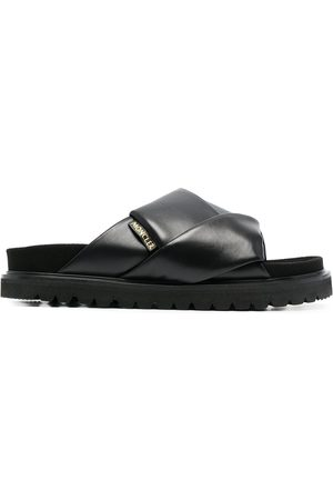 Moncler Interwoven-detail flat leather sandals