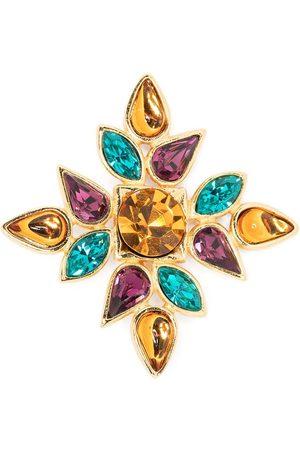 Yves Saint Laurent Crystal-embellished flower motif brooch