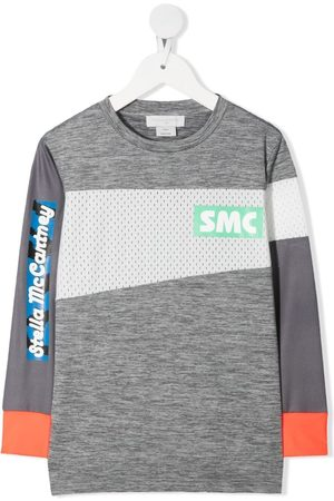Stella McCartney Boys Long Sleeve - Mesh-panel logo T-shirt