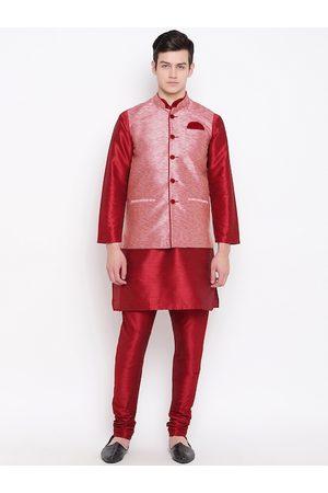 Mag Men Maroon & Pink Solid Kurta with Churidar & Nehru Jacket