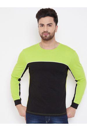 GRITSTONES Men Green Colourblocked Round Neck T-shirt