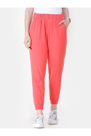 Cation Women Coral Orange Solid Cropped Joggers