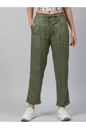 marie claire Women Green Regular Fit Solid Regular Trousers