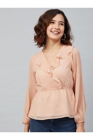 marie claire Women Pink Puff Sleeves Chiffon Wrap Top