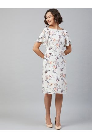 marie claire Women White Printed A-Line Dress