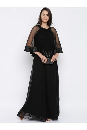 Rare Fashion Women Black Lightweight Solid A-Line Dress With Poncho