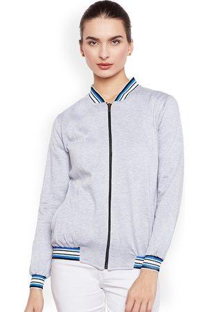 Belle Women Grey Melange Solid Lightweight Tailored Jacket