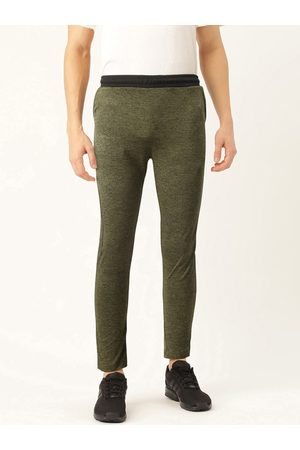 Proline Men Olive Green Slim Fit Self Design Joggers
