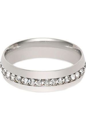 OOMPH Men Rings - Men Silver-Toned White CZ-Studded Handcrafted Finger Ring